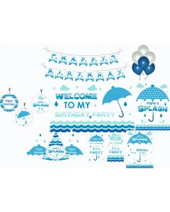 Monsoon Party Decorations - 90 Pieces