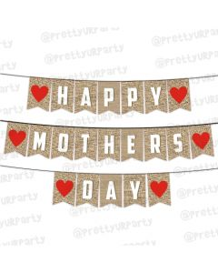 Red Hearts and Brown Mothers Day Bunting