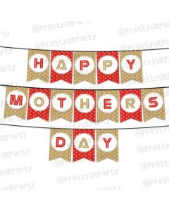 Red and Brown Polka Dots Mothers Day Bunting