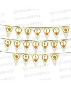Orange and Green Roses and Checks Mothers Day Bunting
