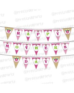 Pink and Brown Mothers Day Bunting