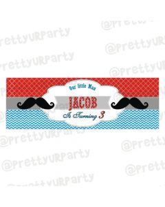 Personalized Moustache Birthday Banner 36in