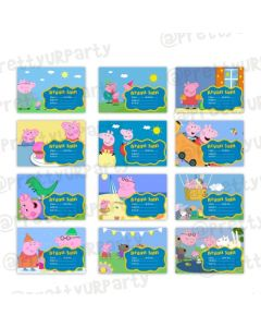 Peppa Pig inspired Book Name Labels
