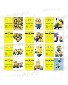 Despicable Me Minions Book Name Labels