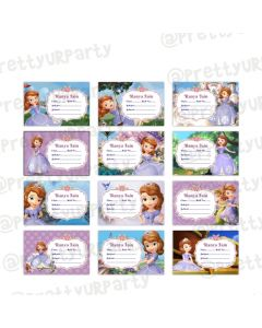 Sofia the 1st inspired Book Name Labels
