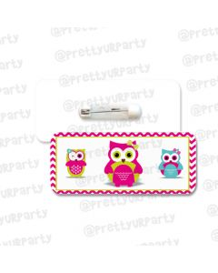 Girly Owl Badge / Name Tag