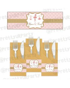 Pink and Gold Ballet Napkin Rings