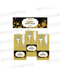 Gold and Black New Year Napkin Rings