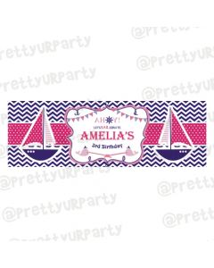 Personalized Girly Nautical Birthday Banner 36in