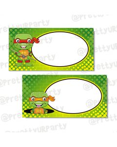 ninja turtles buffet table cards