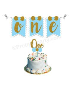 One Cake Topper and Bunting - Blue
