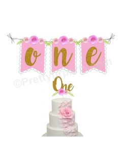 One Cake Topper and Bunting - Pink
