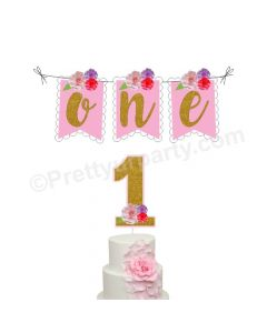 1 Cake Topper and One Bunting - Pink