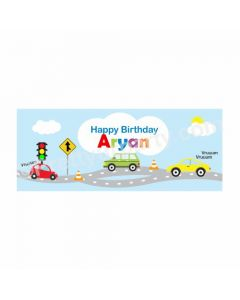 Personalized Colorful Cars Theme Banner 30in