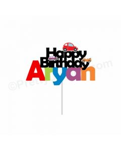 Colorful Cars Theme Cake Topper