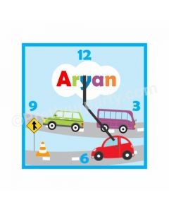 Personalized Cars Clock - Square