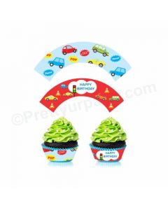 Colorful Cars Theme Cupcake Wrappers