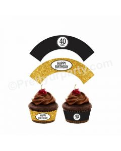 Cheers to 40th Birthday Theme Cupcake Wrappers
