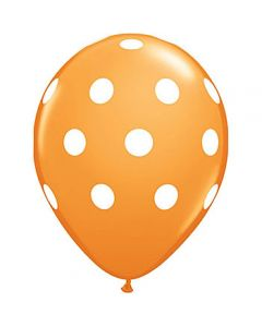 polka dots latex balloon - orange