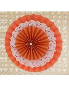 Orange Rosette Paper Fans with Doily