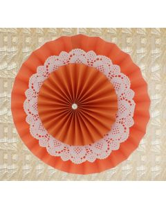 Orange Rosette Paper Fans with Doily - Big
