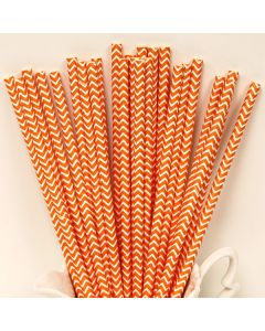 Orange chevron paper straws
