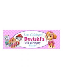 Personalized Paw Patrol Pink Theme Banner 30in