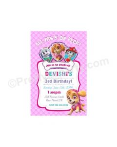 Paw Patrol Pink Theme E-Invitations