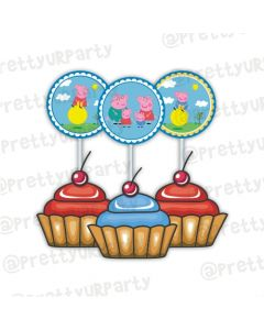 Peppa pig Inspired Cupcake / Food Toppers