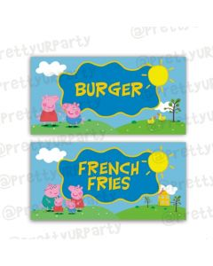 Peppa pig Inspired Food Labels / Buffet Table Cards