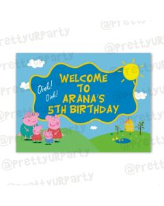 Peppa pig Inspired  Entrance Banner / Door Sign