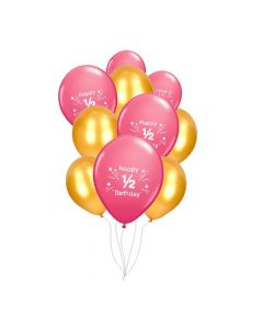 Pink and Gold 1/2 Birthday Balloons
