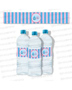 Pink and Blue Water Bottle Labels