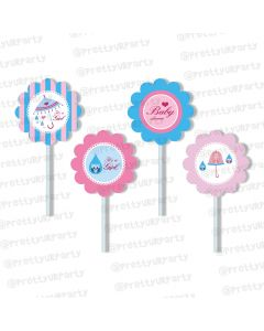 Pink and Blue Cupcake / Food Toppers