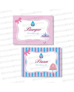 Pink and Blue  Food Labels / Buffet Table Cards