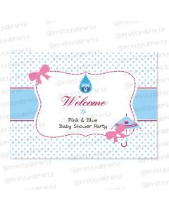 Pink and Blue  Entrance Banner / Door Sign
