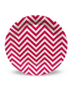 Pink Chevron Paper Plate