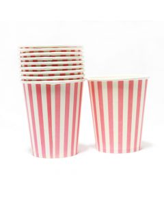 Pink Stripes Paper Cups