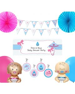Pink and Blue Baby Shower Decorations Package