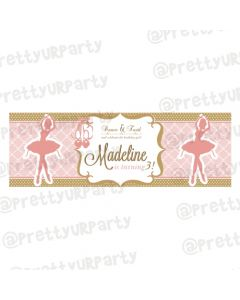 Personalized Pink and Gold Ballet Birthday Banner 36in