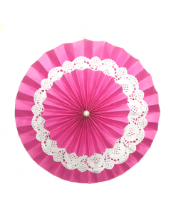 Dark Pink Rosette Paper Fans with Doily - Big