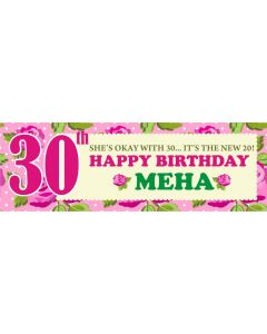 personalised pink roses banner