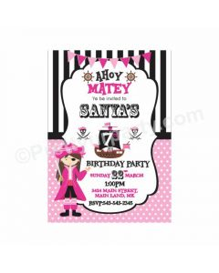 Girly Pirate Theme Invitations