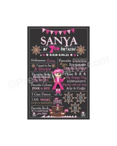 Girly Pirate Theme Chalkboard Poster