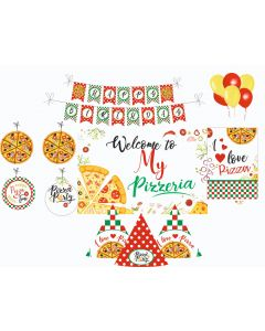 Pizza Party Decorations Package - 70 pieces