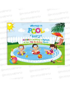 pool party entrance banner / door sign