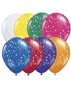 printed latex balloons- metallic mixed colour stars
