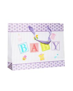 White & Purple Polka Dots with Stripes Baby Shower Medium Bag