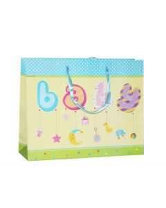 Yellow With Blue & White Polka Dots Baby Shower Medium Bag