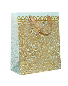 Sky Blue With Golden Floral Medium Bag